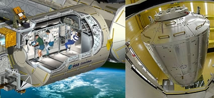 Left: Columbus laboratory - cutaway view. Credits: ESA/D. Ducros. Right: Columbus is loaded into a transportation container ahead of the journey to NASA's Kennedy Space Center. Crédits : ESA/S. Corvaja