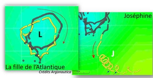 """Les trajets des balises """"la fille de l'Atlantique"""" larguée par Dominique Wavre et """"Joséphine"""" larguée par Jean-Pierre Dick lors du Vendée Globe 2008-2009"""