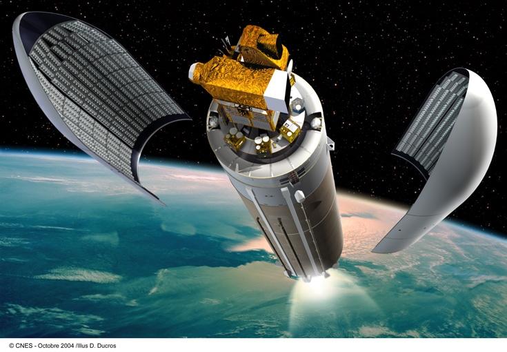Ouverture de la coiffe d'Ariane 5, avant l'insertion en orbite d'HELIOS IIA et de PARASOL. Crédits : CNES/ill.David DUCROS, 2004