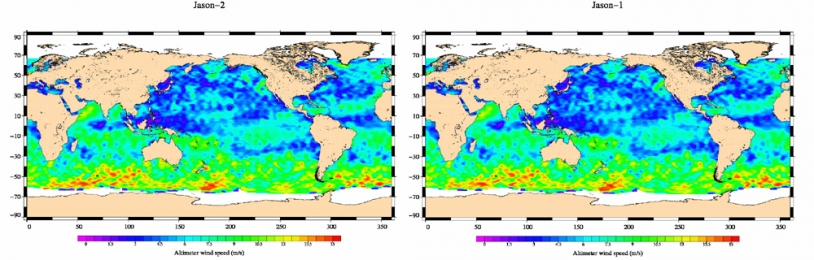 Jason-2 Wind Speed map (left) plotted from 2008-07-04 to 2008-07-14 data; right the same map plotted from Jason-1 equivalent data. Credits: CNES.