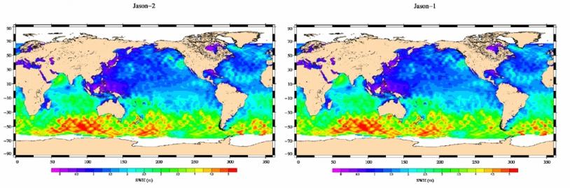 Carte Jason-2 (à gauche) de la hauteur significative des vagues tracée à partir des données du 4 au 14 juillet 2008 ; à droite, la même carte tracée à partir des données équivalentes de Jason-1. Crédits : CNES.