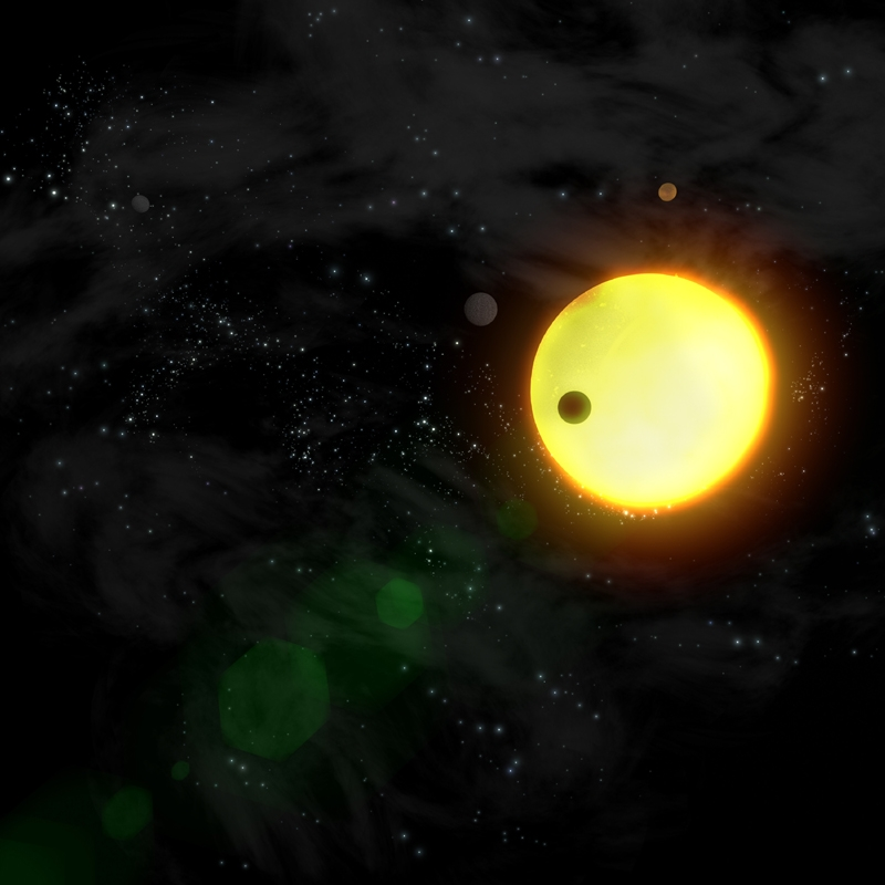 Exoplanètes en transit devant leur étoile mère. Crédits : ESA/Ill. AOES Medialab.