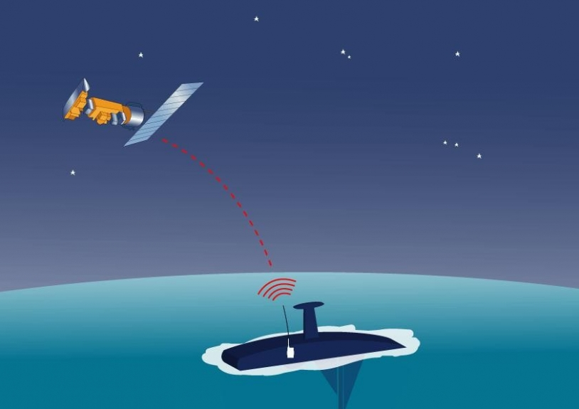 The boat's distress beacon sends a signal to the satellite if it capsizes. Credits: CNES.
