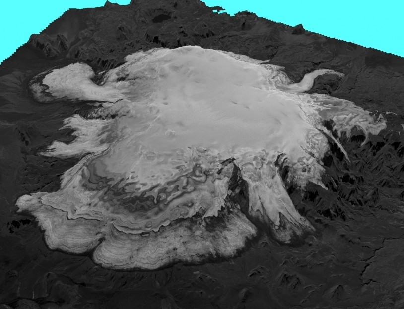 3D view of a glacier in southern Iceland acquired by the HRS stereoscopic instrument on the SPOT 5 satellite. Credits: SPOT 5 HRS.