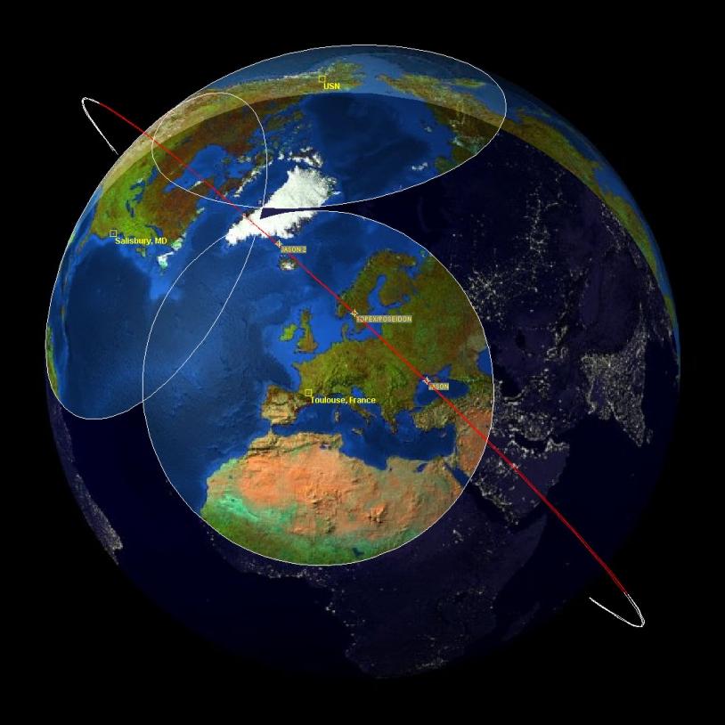 28 January 2009, Jason-1 began to drift slightly relative to Jason-2 (click image to enlarge). Credits: JPL.