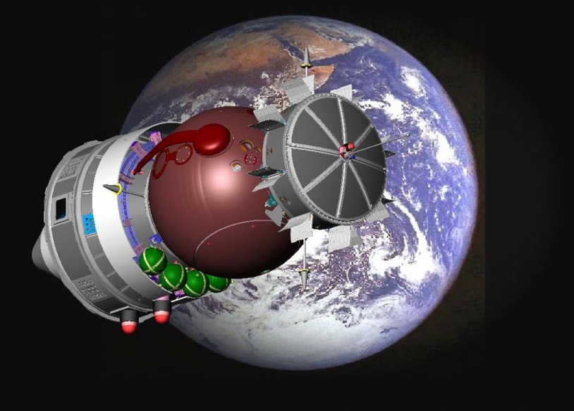 Capsule russe Foton à bord de laquelle se trouvait l'expérience UVolution à 300 km d'altitude en 2007. Crédits : ESA.
