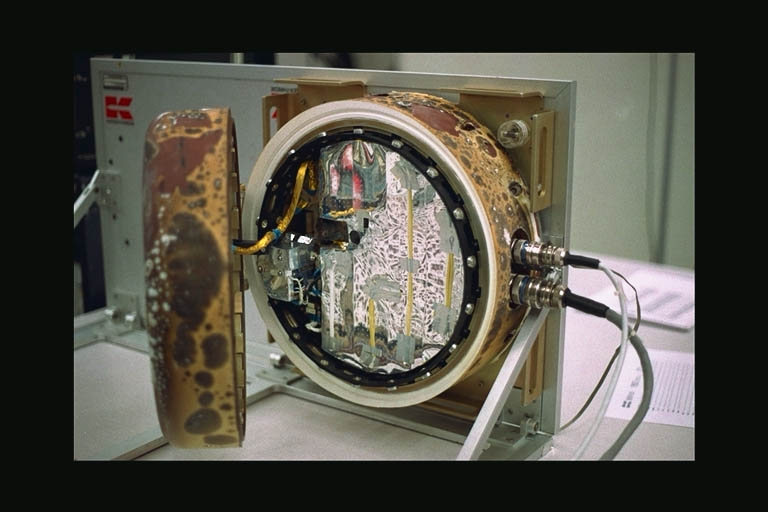 ESA exposure module housing the UVolution experiment, shown here on its return to Earth in 2007. Credits: ESA.