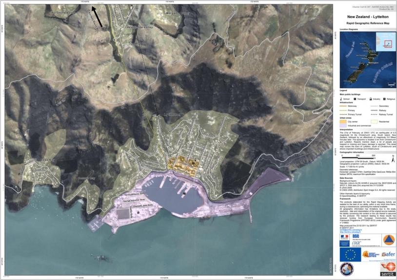 Basemap generated from ALOS AVNIR-2 and SPOT 5 data. Credits: JAXA, CNES - Map produced by SERTIT.