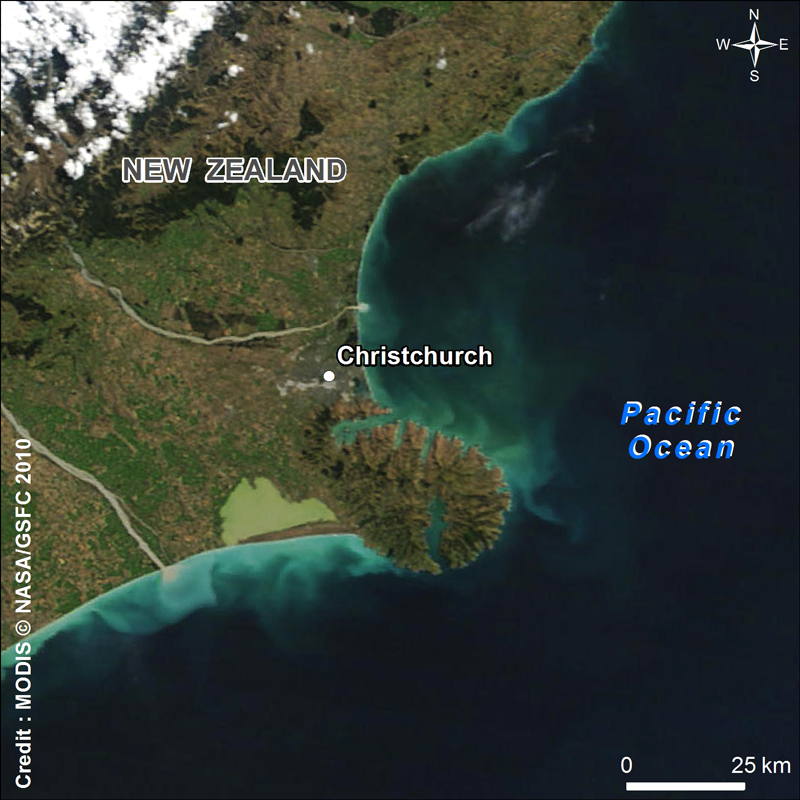 The earthquake hit the city of Christchurch on 21 February. Credits: NASA/GSFC.