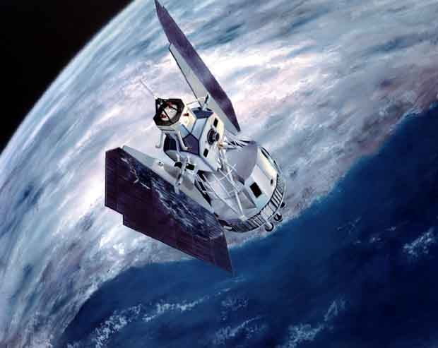 Artist's view of a U.S. Landsat satellite. Credits: NASA.