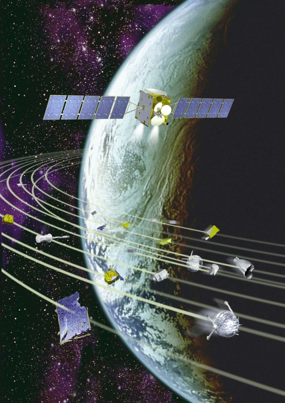 Artist's view of a satellite and a sample of space debris orbiting Earth. Credits: CNES/D. Ducros.