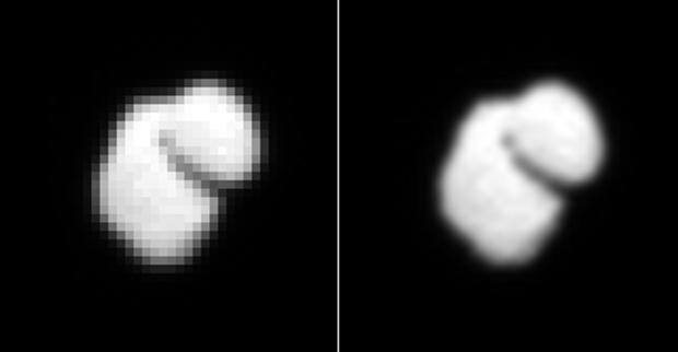À gauche, une image de la comète 67P/Churyumov-Gerasimenko, prise le 14 juillet 2014 par OSIRIS à près de 12 000 km ; à droite, la même image interpolée. Crédits : ESA/Rosetta/MPS for OSIRIS Team MPS/UPD/LAM/IAA/SSO/INTA/UPM/DASP/IDA.